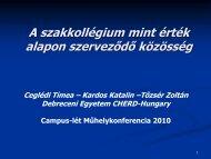 A minta általános jellemzői - Campus-lét - Debreceni Egyetem