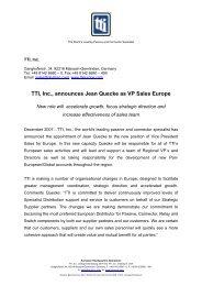 TTI, Inc., announces Jean Quecke as VP Sales Europe
