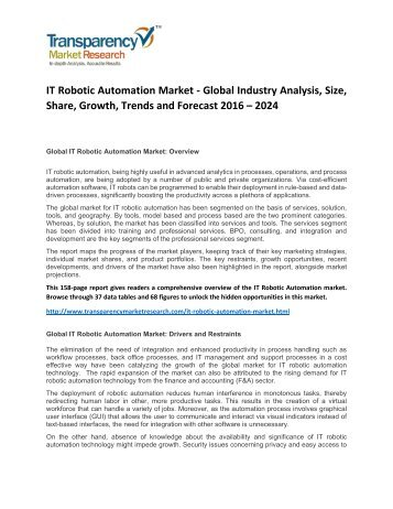 IT Robotic Automation Market Research Report 2016 Industry Trend, Growth, Share, Analysis and Forecast to 2024