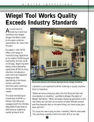 Wiegel Tool Works Quality Exceeds Industry Standards