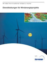 Dienstleistungen für Windenergieprojekte - TÜV NORD Gruppe