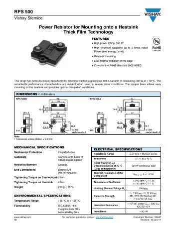 RPS 500 Power Resistor for Mounting onto a Heatsink ... - TTI Europe