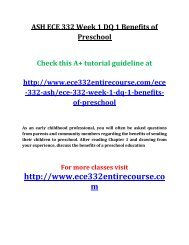 ASH ECE 332 Week 1 DQ 1 Benefits of Preschool