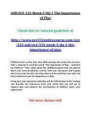 ASH ECE 332 Week 5 DQ 1 The Importance of Play