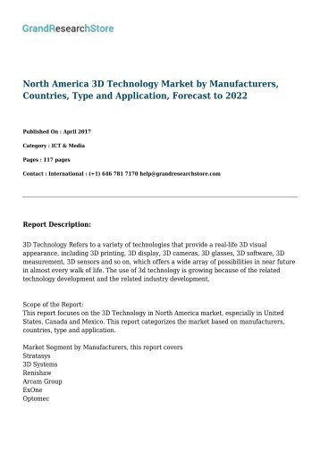 North America 3D Technology Market by Manufacturers, Countries, Type and Application, Forecast to 2022