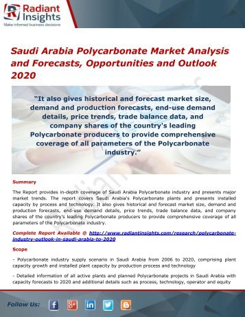 Saudi Arabia Polycarbonate Market Trends, Analysis and Forecasts 2020