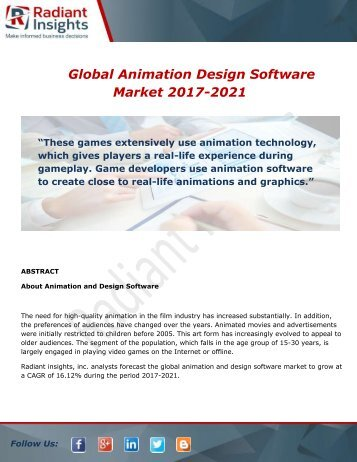 Global Animation Design Software Market Share, Size, Growth and Forecast Report To 2017-2021