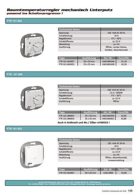 Preisliste eh-technik 2017-2018 - Elektrische Heizsysteme