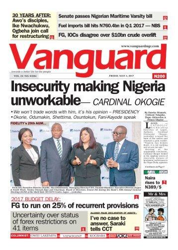 05052017 - Insecurity making Nigeria unworkable— CARDINAL OKOGIE