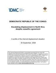 DEMOCRATIC REPUBLIC OF THE CONGO - Internal Displacement ...