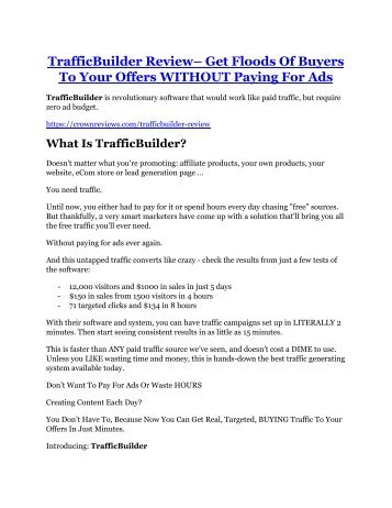 TrafficBuilder review in detail and (FREE) $21400 bonus