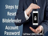Steps to Reset Bitdefender Account Password