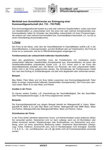 Merkblatt zum Anmeldeformular Kommanditgesellschaft