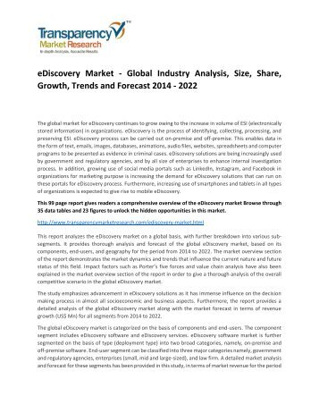 eDiscovery Market Analysis, Size, Share, Growth, Trends and Forecast 2015 - 2022