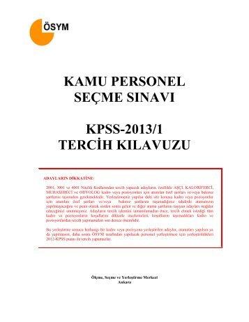 KPSS 2013-1 TERCIH KILAVUZ