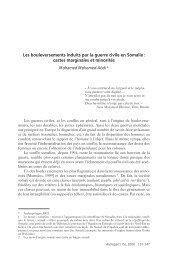 Les bouleversements induits par la guerre civile en Somalie ... - IRD