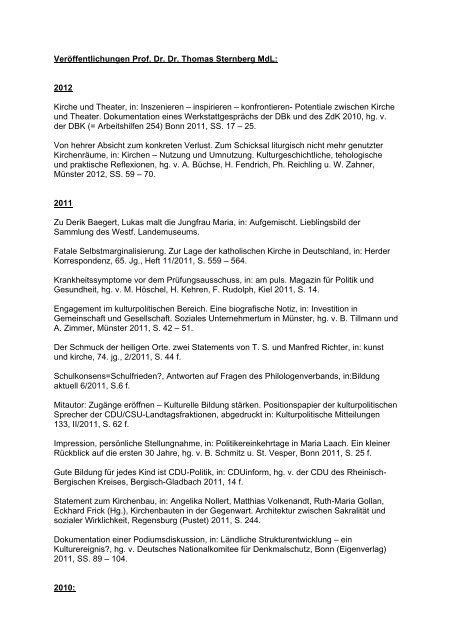 Veröffentlichungen 1983-2012 (pdf) - Sternberg, Prof. Dr. Dr ...