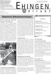 Sportfreunde Kirchen 1953 eV Musikkapelle ... - Stadt Ehingen