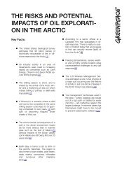 the risks and potential impacts of oil explorati - Greenpeace