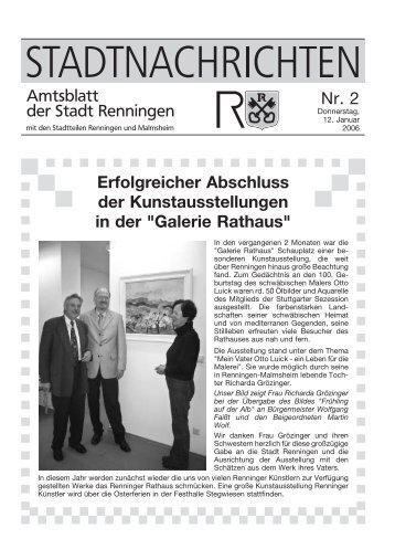 Erfolgreicher Abschluss der Kunstausstellungen ... - Stadt Renningen