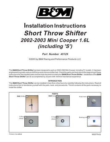 Installation Instructions Short Throw Shifter 2002-2003 Mini Cooper ...