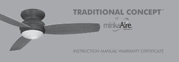 instruction manual warranty certificate traditional ... - Minka Group