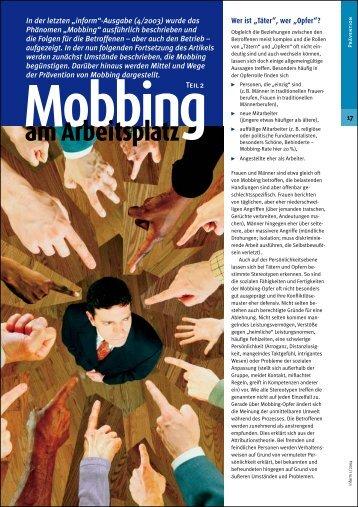 Mobbing am Arbeitsplatz - Unfallkasse Hessen