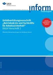 Betriebsärzte und Fachkrä e für Arbeitssicherheit - Unfallkasse Hessen
