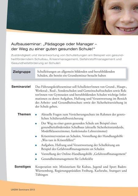 Seminare 2013 - Unfallkasse Baden-Württemberg