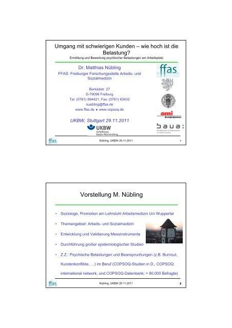 Vorstellung M. Nübling - Unfallkasse Baden-Württemberg