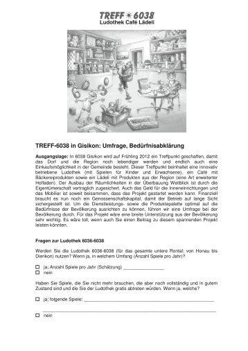 TREFF•6038 in Gisikon: Umfrage, Bedürfnisabklärung