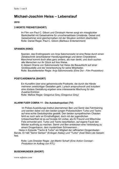 Michael Joachim Heiss Lebenslauf