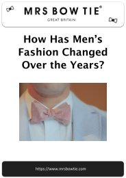 How has Men's Fashion Changed over the Years