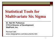 Multivariate Stat Tools for Six Sigma