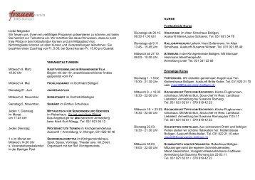 Jahresprogramm 2011 - Frauenverein Bolligen