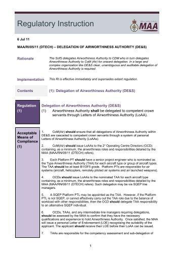 maa/ri/05/11 (dtech) - Military Aviation Authority
