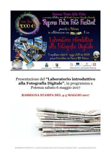 LABORATORIO DI FOTOGRAFIA A POTENZA - RASSEGNA STAMPA DEL 4-5 MAGGIO 2017