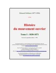 Histoire du mouvement ouvrier Tome I : 1830-1871