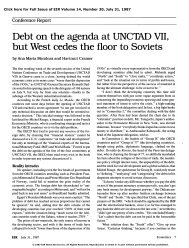 Debt on the Agenda at UNCTAD VII, But West Cedes the Floor to ...