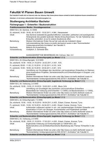 Fakultät VI Planen Bauen Umwelt - Index of