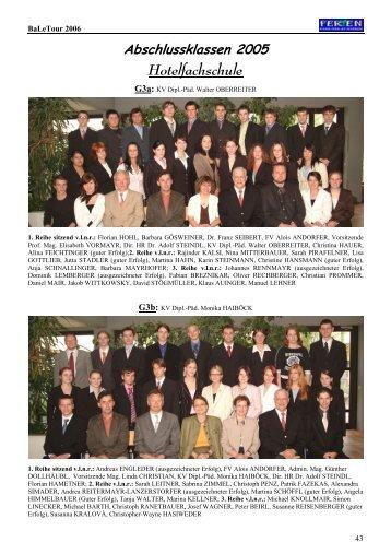 Abschlussklassen 2005 Hotelfachschule