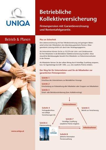 Flyer Betriebliche Kollektivversicherung - Uniqa