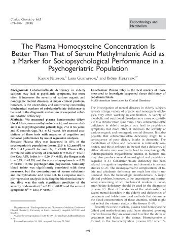 The Plasma Homocysteine Concentration Is ... - Clinical Chemistry
