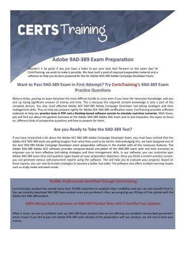 9A0-389 Adobe ACE: Campaign Developer Exam Questions