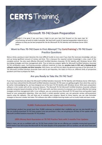 70-742 Dumps - Microsoft Certified Solutions Associate Exam