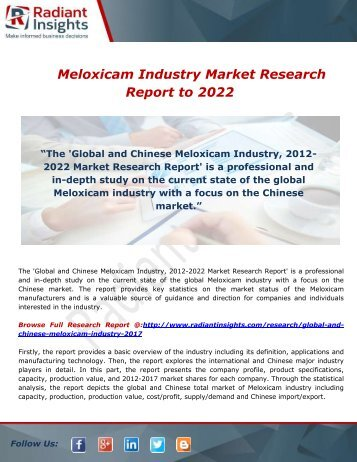 Meloxicam Industry Market Research Report to 2022: Radiant Insights,Inc
