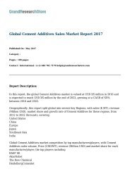 Global Cement Additives Sales Market Report 2017