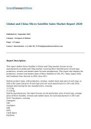 Global and China Micro Satellite Sales Market Report 2020