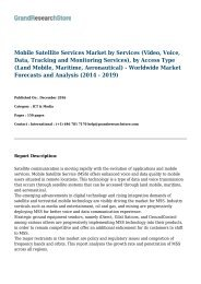Mobile Satellite Services Market by Services (Video, Voice, Data, Tracking and Monitoring Services), by Access Type (Land Mobile, Maritime, Aeronautical) - Worldwide Market Forecasts and Analysis (2014 - 2019)