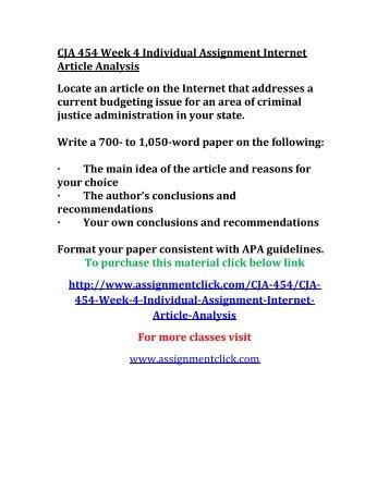 UOP CJA 454 Week 4 Individual Assignment Internet Article Analysis